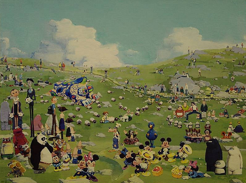 Zhang Gong, Sunday on the Lawn, 2011 Acrylic on canvas, 23 5/8 x 29 1/2 inches (60 x 75 cm) Exhibition Where We Go at Eli Klein Fine Art, Jul 26 - Aug 31, 2012