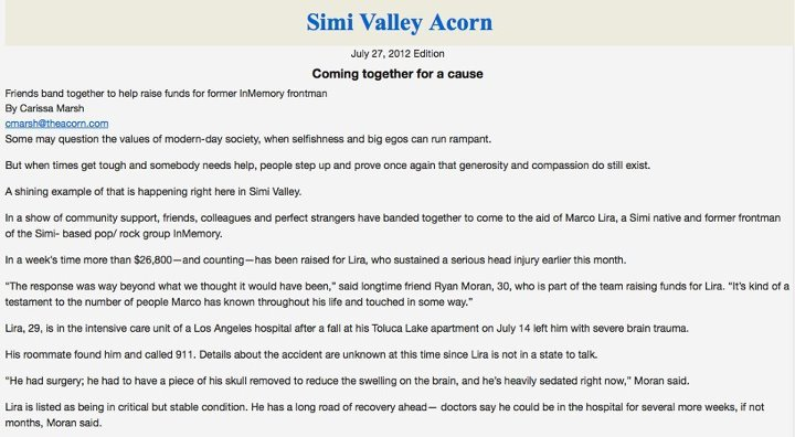 7/26: Beautiful article written on Marco in the Simi Valley Acorn which goes out tomorrow. You can really feel the love for the Lira's!  http://bit.ly/OfMB2W http://on.fb.me/Qhv46w