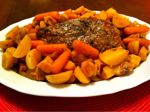 Dinner this evening — Organic Beef Round Roast with Organic Potatoes, Carrots, Parsnips, and Onions.