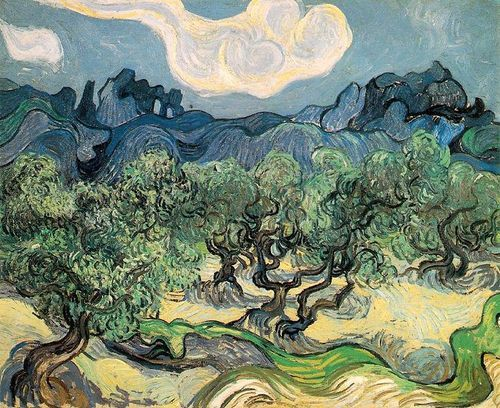 daillest94:  Olive Trees With the Apilles in the Background - Vincent Van Gogh (1889)