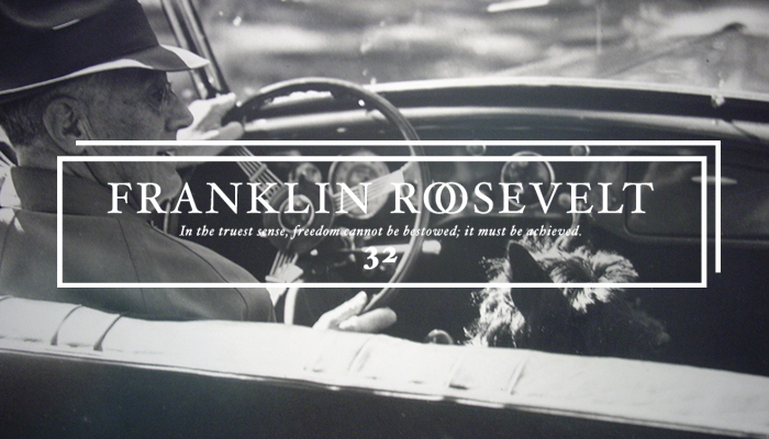 "Thirty-Second President: Franklin Roosevelt (1933-1945) This picture shows ""FDR and Fala, out for a ride"".   Fala was a famous Scottish Terrier, the beloved dog of U.S. President Franklin D. Roosevelt. One of the most famous presidential pets, Fala captured the attention of the public in the United States and followed Roosevelt everywhere, becoming part of Roosevelt's public image. His White House antics were widely covered in the media and often referenced both by Roosevelt and his wife, Eleanor Roosevelt. Fala survived Roosevelt by seven years and was buried alongside him. A statue of him alongside Roosevelt is prominently featured in Washington, D.C.'s Franklin Delano Roosevelt Memorial, the only presidential pet so honored."
