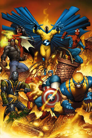 "A new Avengers team briefly formed following the events of House of M, coming together as the result of a massive jailbreak at The Raft prison facility. This New Avengers lineup was composed of Iron Man, Captain America, Luke Cage, Wolverine, Ronin, Spider-Man,Spider-Woman, and Sentry. In the company-wide ""Marvel Civil War"" story arc, Marvel superheroes were split over compliance with the U.S. government's newSuperhuman Registration Act requiring all superpowered persons to register their true identifies with the federal government and become agents of same. The New Avengers disbanded, with a rebel underground opposed to the act forms in a series retaining The New Avengers in its trademarked cover logo and New Avengers in its copyright indicia. Luke Cage led this underground Avengers team in that series. The team consists of himself, Echo, Ronin, Spider-Man, Spider-Woman (Jessica Drew), Wolverine, Iron Fist, and Doctor Strange. During the long-term infiltration of Earth by the shape-shifting alien race the Skrulls, we learn that Drew had been abducted and replaced by the Skrull queen Veranke. After the Skrulls' defeat, Drew, among other abducted and replaced heroes, was rescued. During the company-wide story arc ""Dark Reign"" Echo and Iron Fist leave the team and the Avengers gain Ms. Marvel, Captain America (Bucky Barnes), and Mockingbird. At the start of the ""Heroic Age"" storyline, the New Avengers become an officially recognized team given independence from Stark's more traditional Avengers by Captain Steve Rogers, primarily due to Cage's distrust of a government backed superhero group. Captain America leaves the team to solely serve the main Avengers, Iron Fist rejoins the team, and Power Woman and Thing are also added to the roster.Steve Rogers has an occasional presence and Victoria Hand is added with his backing, causing controversy among the other members due to her previous ties to Norman Osborn."