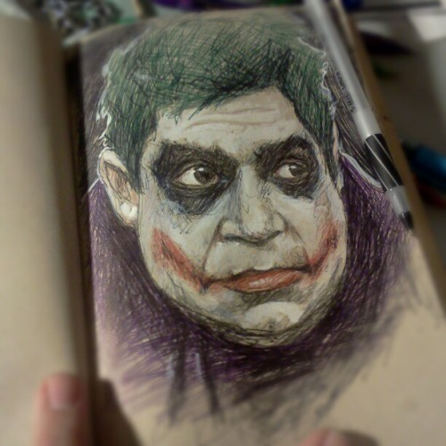 Portrait of @PattonOswalt as the Joker.  #doodle #sketch #sketchbook #journal #biro #drawing #ink #bic #comedian #comic #DC #joker #pattonoswalt  (Taken with Instagram)