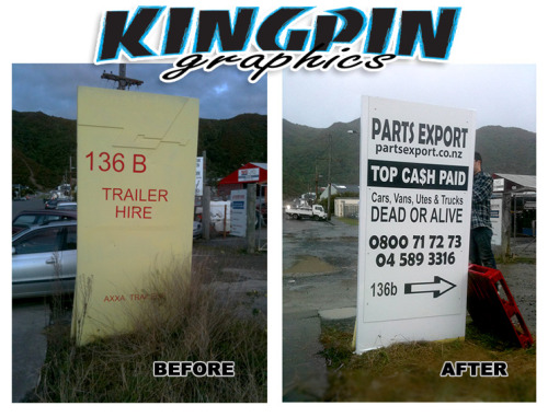 Check out this before and after of a sign we designed and installed this week in Seaview, Wellington for Parts Export. It was raining and I forgot the ladder but we still got the job done.  Kingpin Graphics - Wellington Sign Makers