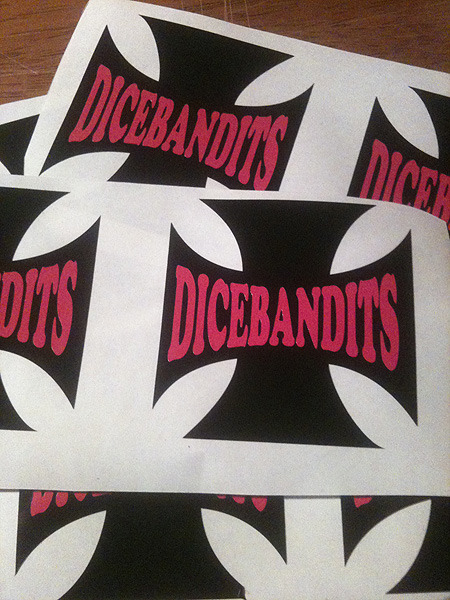 I did a bunch of these decals up for the DiceBandits this week. Pink on black is a good look.  Kingpin Graphics - Wellington Sign Makers
