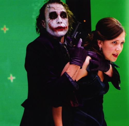 Heath Ledger and Maggie Gyllenhaal film the party scene of The Dark Knight