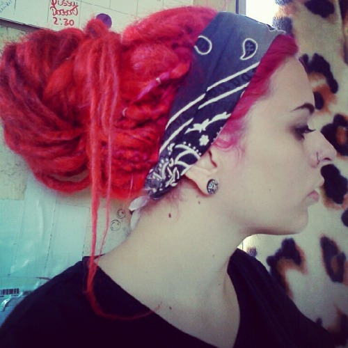 leah-ray-rotten:  Pulled my hair back to clean today :)  I love dread buns.