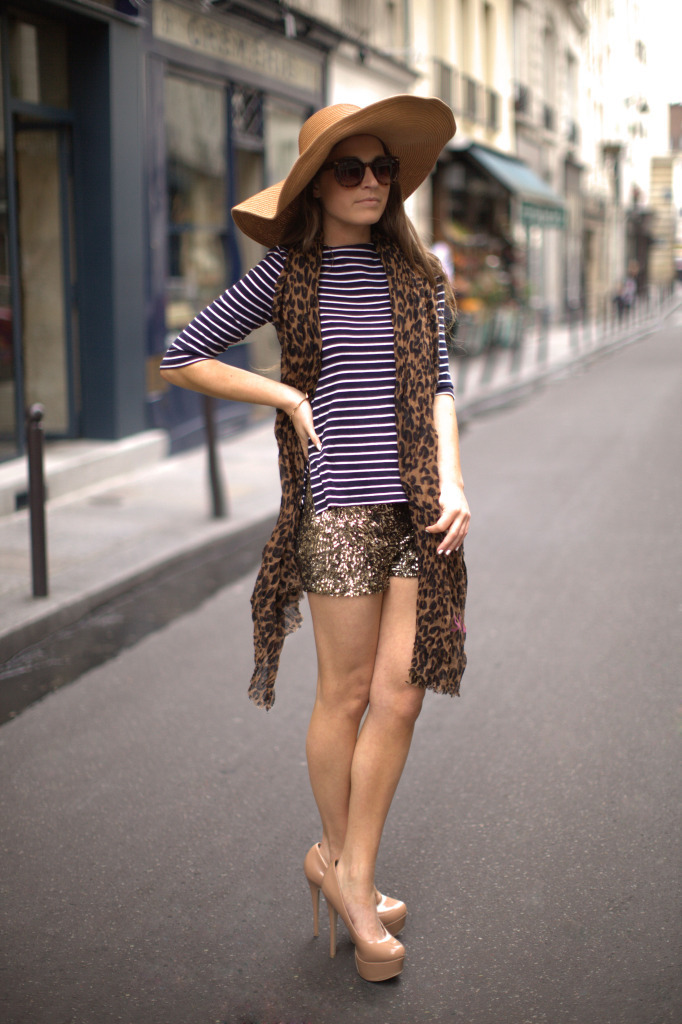 Zara Breton Top, Louis Vuitton Scarf, ASOS Hat, Zara  Sequin Short, ASOS Sunglasses & New Look Patent Beige Heels (image: befrassy)