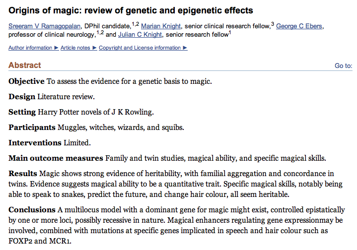 Origins of magic: review of genetic and epigenetic effects, 2007 [link] I'm not a fan of this kitsch fandom shit but maybe you are that much of a fan. I find the conclusion hilarious, let's just assume it can be almost everything but it wouldn't be magic if it's explanation wasn't a bit magical, right?