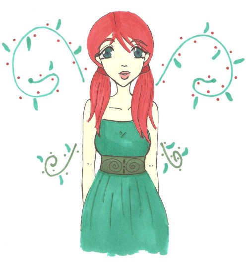 I didn't mean for her to end up looking like a cute version of poison ivy…but she did so here ya go