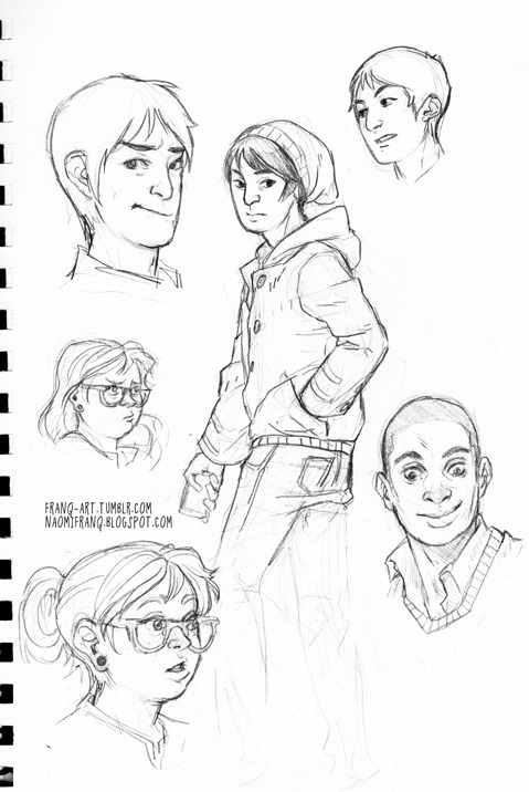 franq-art:  Some character sketches from an upcoming web comic project I'm working on called LOANS.Mike Han, the little beanie-wearing one, is legit my favorite character to draw right now next to Spencer, the smilin' fella down on the right. Han is just adorable, and Spencer just gives me a lot of Dulé Hill feels. I really miss Psych right now. But Katie, the girl with the glasses, is gonna be fun, too, because omg her chubby face is going to make the BEST expressions X3 /done rambling  omfg im so excited for this
