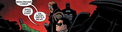 quietest-one:  quipquipquip:  comicbookkissyface:  Batman & Robin v2 #11  How did you even reach the pedals, Damian. Did you wear stilts or  And to think, Adam West's Batman wouldn't let Dick drive til he was legal. ALFRED had to drive the Batmobile when Batman wasn't around.