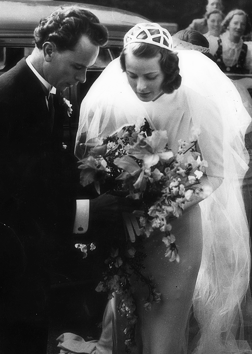 Ingrid Bergman with her first husband, Dr. Petter Lindström, at their wedding in 1937.