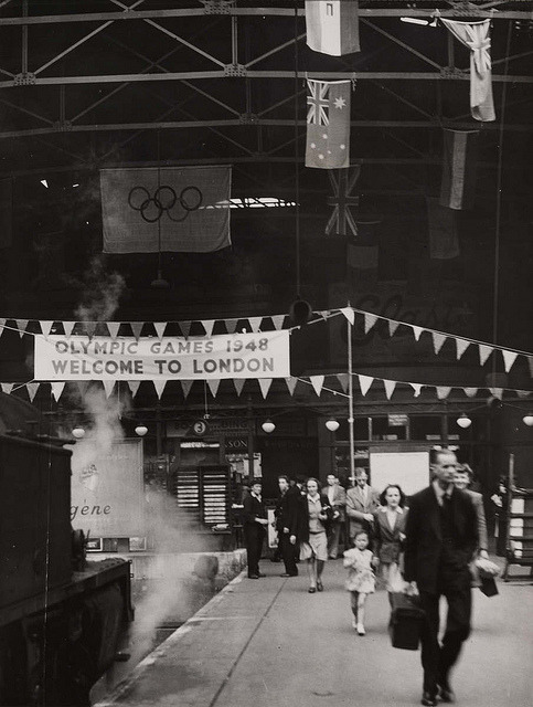 Fenchurch Street Station decorated for the Olympic Games, London, 1948. by National Media Museum on Flickr.