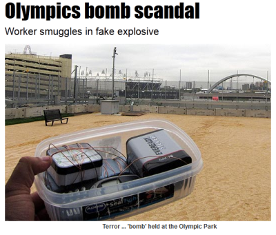 diarrheaworldstarhiphop:    A TERRIFYING flaw in London's Olympic Park security was exposed last night after a worker smuggled a fake BOMB inside.  He sailed past TWO checkpoints without being stopped — just hours before the Olympic Stadium officially opened. These pictures show the dummy Semtex device inside a heavily-guarded ring of steel — just yards from the showpiece Olympic Stadium. It looks like a bomb, it's wired like a bomb and it has a timer like a bomb. But incredibly a worker carrying it in his digger was simply allowed to drive in UNCHALLENGED. This is a taste of Britain's worst Olympic nightmare — that extremists such as al-Qaeda could stage a terror spectacular to stun the world. The Sun had earlier passed the worker the package after he called us worried about gaping security loopholes at the East London site.  OPHHH FUCCKKK.. OHHH SHITT, FUICK
