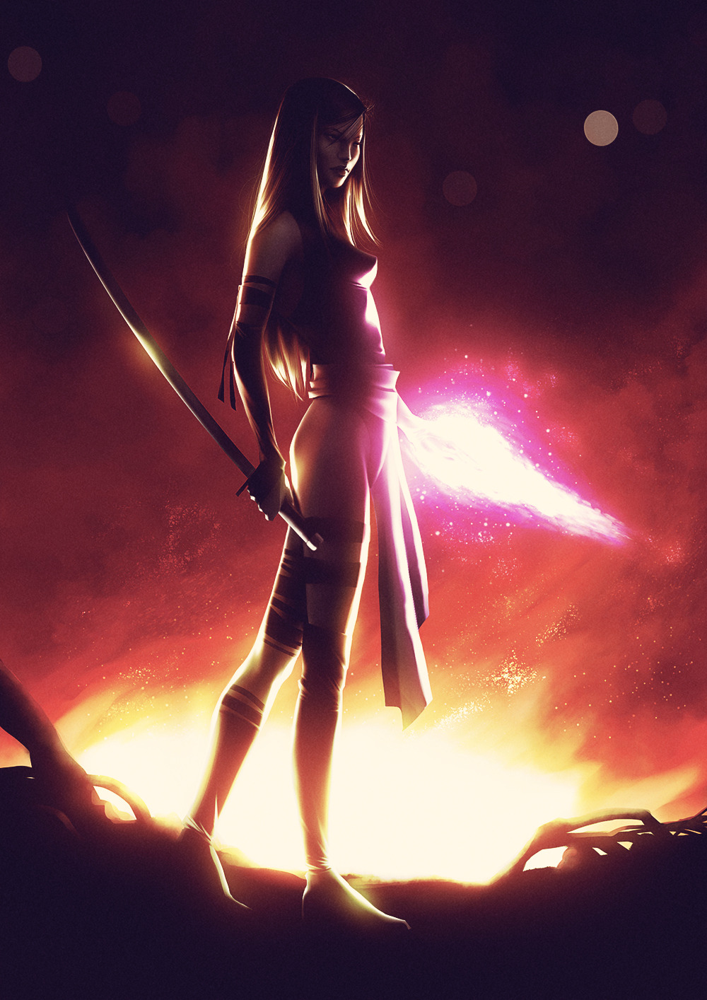 artsylessfartsy:  Daily Deviation 07.27.12  Psylocke by *lenadrofranci  I've loved Psylocke… Betsy Braddock… sister of Brian Braddock (aka Captain Britain)… ever since she was a British telepath with purple hair and bionic eyes. I was a HUGE fan of the major change in the character by Jim Lee & Chris Claremont into an Asian telepathic ninja! (It makes sense for long-time fans…)