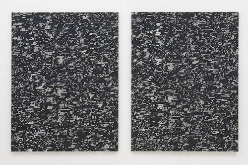 Study 8 (The Eye Codex Of The Monochrome), 1984–2010, acryl (black and white gesso) on canvas (via Navid Nuur : Plan-B)