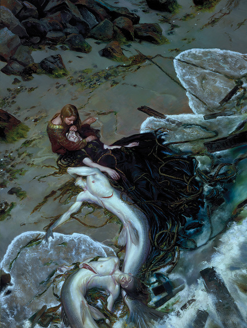 misfittoys:  thepablogvajardo:Donato Giancola - The Golden Rose Misfit's Monday Theme: In honor of the end of Summer, I give you……..A SHIT TON OF MERMAID TIME!!!!