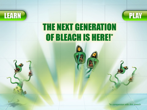 Welcome to the Domestos Germ buster app. Play the germ buster game to destroy those 'menacing nasties' that lurk in your home and learn about the benefits of Domestos over thin bleach. Play our game and learn about bleach? You are having a f*cking laugh aren't you?! To whoever approved this, you should seriously consider your place in society. Moron.