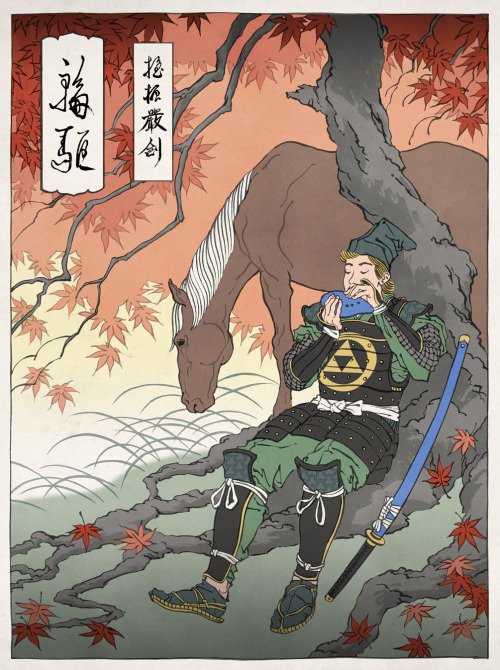 gameandgraphics:  Link and Samus, from the awesome Ukio-e gaming series by Jed Henry. Keep tuned to his tumblr site because in a few weeks he will begin a kickstarter project to turn this illustrations into real japanese traditional prints.