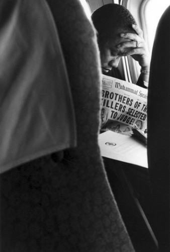 Malcolm X on a plane, 1963 (via Archive: Civil Rights)