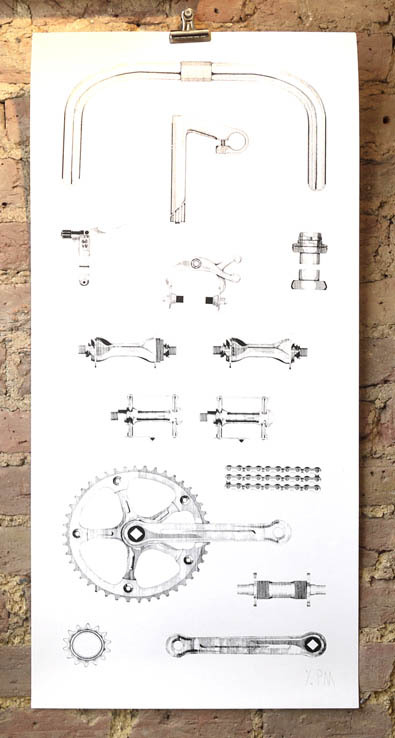 Phillip mcNeill- 'bike component illustration' 1 colour screenprint edition of 18 signed & numbered by the artist £120