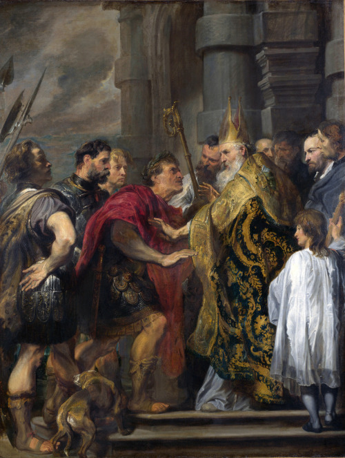 Ambrose, then Bishop of Milan, later Saint, preventing the Roman emperor Theodosius I from entering the Cathedral at Milan. By van Dyck.