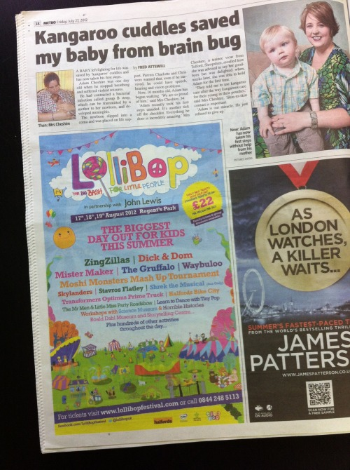thehouselondon:  LolliBop in the Metro in London