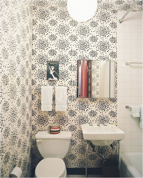 Source: Apartment Therapy Love that wallpaper! Why not spice up a small bathroom space? Be bold and show off :)