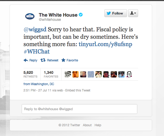 A year ago today, the official White House twitter account RickRolled some guy. Really.