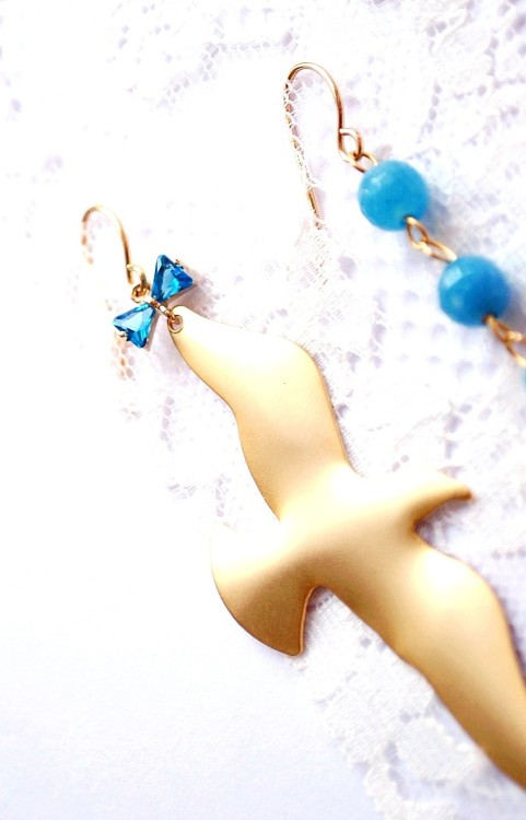 Seagull and anchor earrings