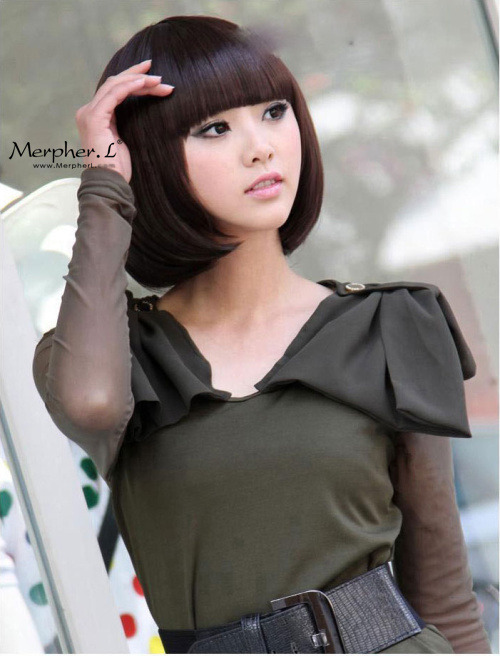 Fashion Short Silky Straight Kanekalon Wig Hairpiece Skin Top Design  shop from Merpher.L