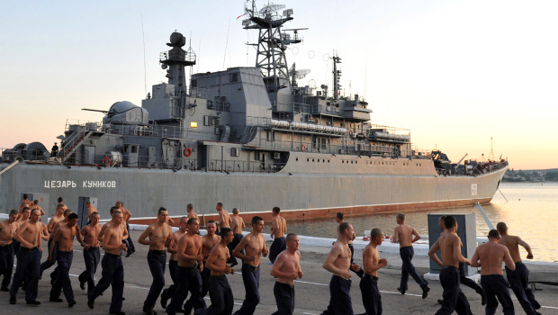 Russian sailors do their morning exercises near a Navy vessel in the bay of the Ukrainian city Sevastopol, the main base of the Russian Black Sea Fleet, Sept. 6, 2011. (AFP/Getty Images)  Moscow shut down its bases in Cuba and Vietnam in 2002, leaving just two abroad: a major Black Sea base at Sevastopol in Ukraine and Tartus on Syria's Mediterranean coast.  Navy chief: Russia talking to Cuba, Vietnam and Seychelles about naval bases Russia is talking to Cuba, Vietnam and the Indian Ocean island country of Seychelles about housing Russian navy ships, the nation's navy chief said in remarks reported Friday. Vice Admiral Viktor Chirkov told the state RIA Novosti news agency that Russia is in talks about setting up maintenance and supply facilities for Russian ships in those countries but wouldn't give any further details. Russia's only existing naval base outside the Soviet Union is located in the Syrian port of Tartus. A squadron of Russian navy ships, including several assault ships carrying marines, is currently heading to Tartus in a show of support for a longtime ally whom Moscow protected from international sanctions and continued to supply with weapons.