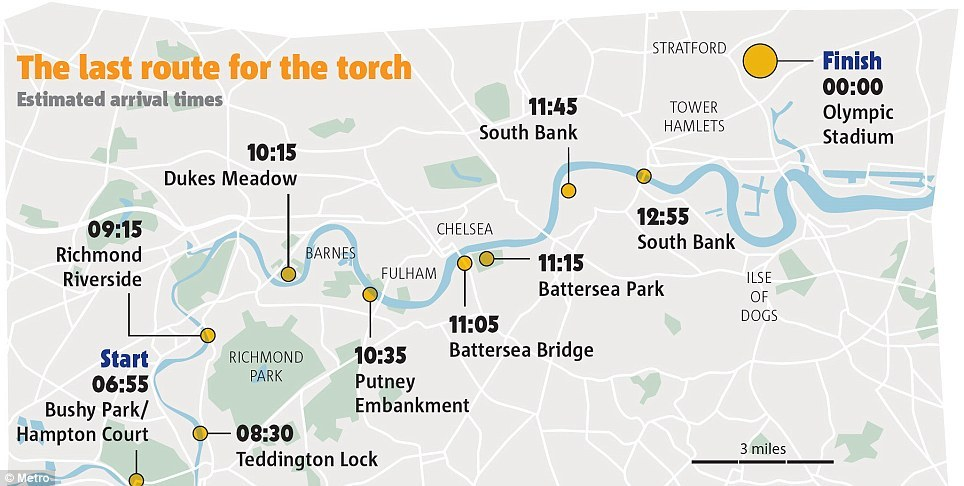 Route: The torch has travelled from Hampton Court Palace in west London to the capital's iconic Tower Bridge today before it's appearance in Stratford later on