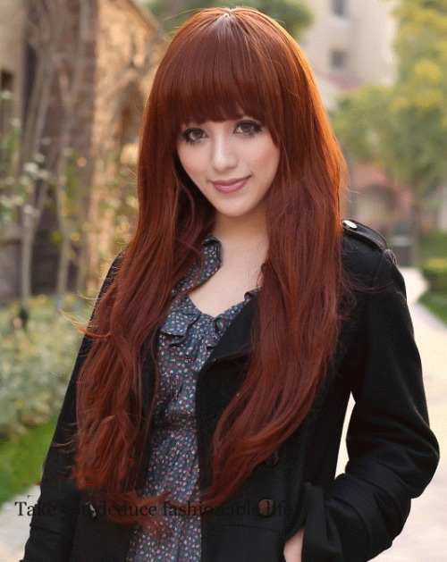 Luscious Long Wine Red Natral Straight Kanekalon Wig Hairpiece Skin Top Design  shop from Merpher.L