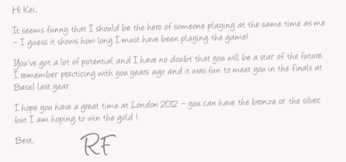 superqueermaestro:  Roger Federer's message to kei Nishikori  Roger.. you so classy