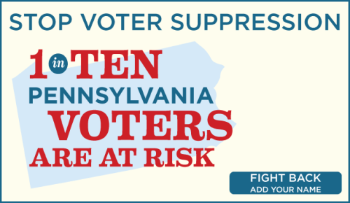 "demnewswire:  Stop republican voter supression in Pennsylvania If you're against voter suppression in Pennsylvania and across the country, add your name to our petition right now. In a highly partisan move, PA Republican Gov. Tom Corbett signed a new Voter ID law into effect that could prevent up to 758,000 Pennsylvania voters from casting their ballot. Mike Turzai, the State House Republican Majority Leader, said straight out, ""Voter ID…is going to allow Governor Romney to win the state of Pennsylvania."""