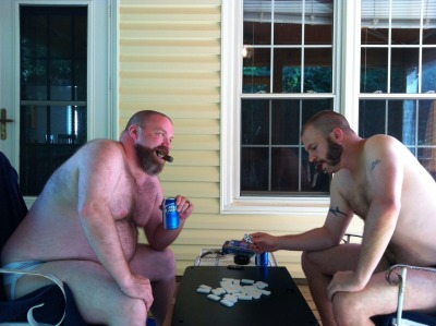 cigarpervboy:  Dominoes in our jocks with CigarPervDad