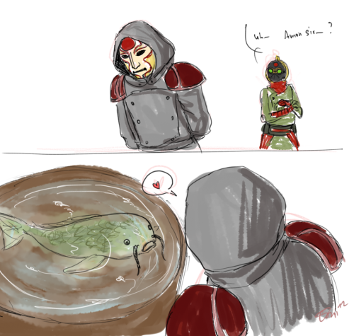 theslowestdrawfag:  umnachtung:  Amon has a pet carp because it reminds him of the Lieutenant. This was the main idea behind this silliness.  I d'awwww'd way WAY too hard