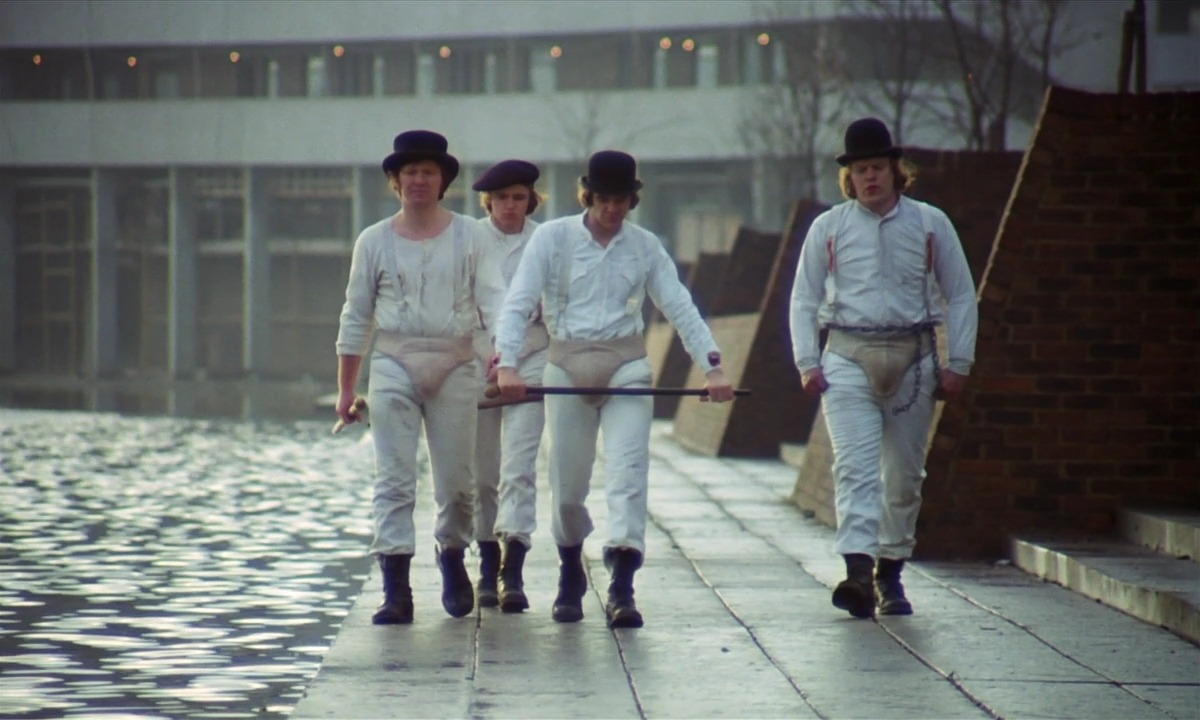 THE DROOGS Spreading violence and chaos in one of the most influential films in history regarding fashion and design, Droogs are perhaps Kubrick's (and Canonero's) most visually inventive and memorable characters. A Clockwork Orange (1971), directed by: Stanley Kubrick, costume design by: Milena Canonero