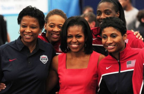 Michelle Obama has arrived at the London Games to lead the U.S. delegation, starting her Friday schedule by having breakfast with American Olympians.