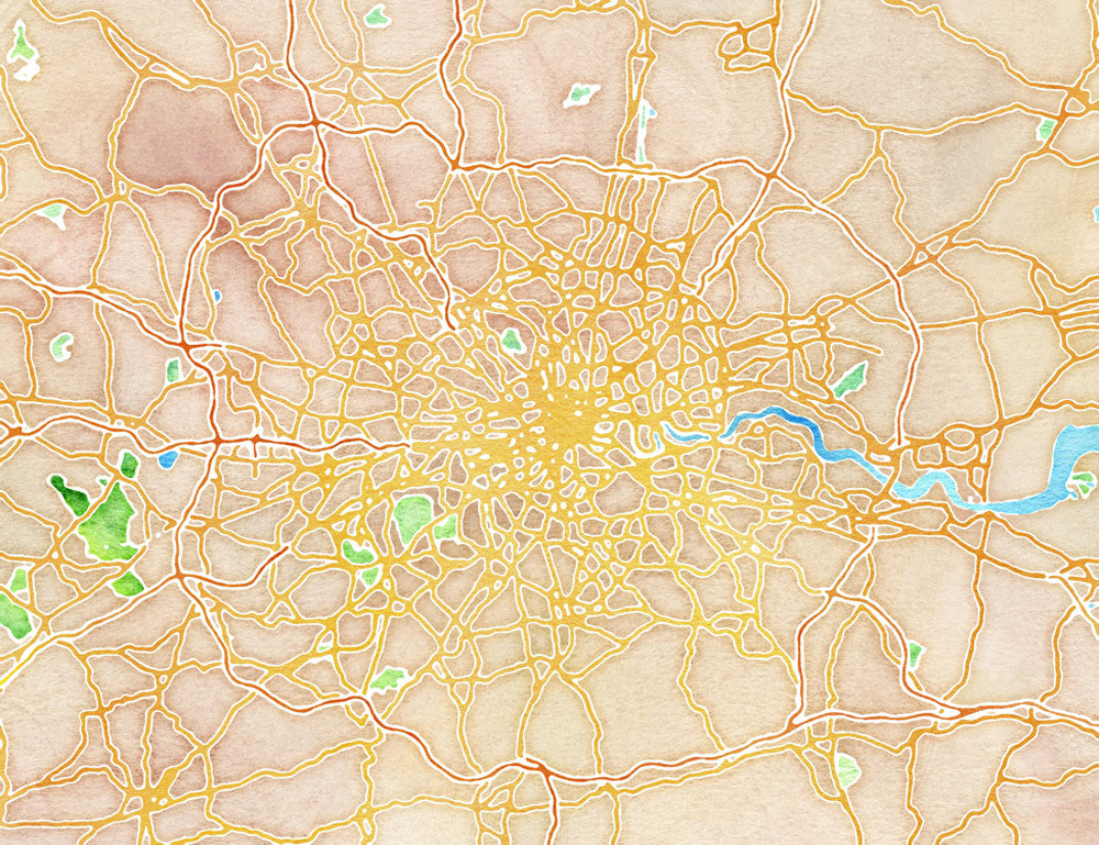 Just in time for the Olympics: Watercolor London by Stamen Design | Buy the limited-edition art on 20x200.com here. In our introduction, Jennifer writes:  Exactly a week ago today we kicked off an exciting new map series from Stamen Design with Watercolor New York. As promised, we are featuring cities from all over the world constructed in the same way using a combination of data from OpenStreetMap and hand-painted tiles. Today's offering: Watercolor London.
