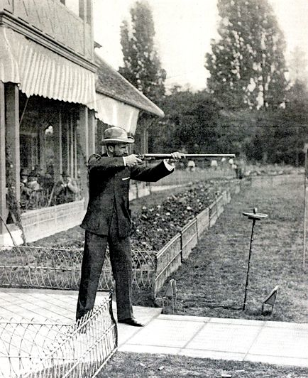kateoplis:  6 Lost Olympic Sports: Live Pigeon Shooting The rules of the game were straightforward: Shoot down as many birds as possible in the allotted time, with two misses resulting in elimination. The event—in which Australia's Donald MacIntosh [above at the 1900 Paris games] took the bronze—was predictably messy, which may have contributed to pigeon shooting's brief Olympic life span.   Makes me proud to be Australian.