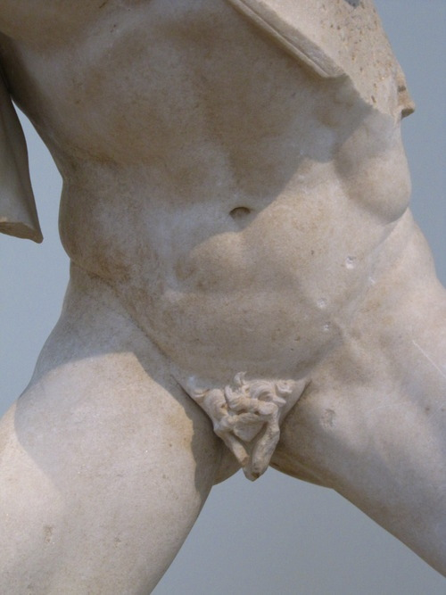 Possibly Agasias, Fighting Gaul, found in the Agora of the Italians (Delos), c. 100 B.C., marble.  National Archaeological Museum, Athens