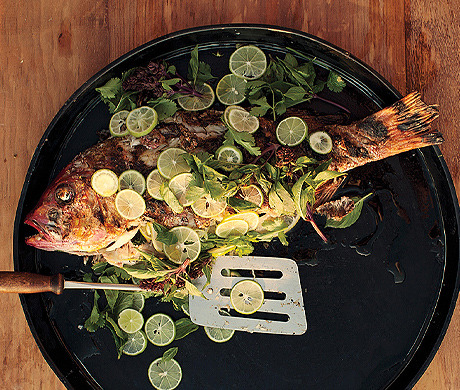 Utter simplicity: Whole Grilled Fish with Lime (Bon Appétit, July 2012)