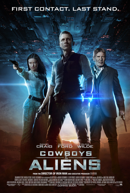 #391/#108 Cowboys and Aliens Cowboy Jake Lonergan (Daniel Craig) wakes up in the middle of the desert with an unusual metal shackle attached to his arm and no memory of who he is or how he got there. Heading into town he runs foul of both the local law and the wealthy cattleman (Harrison Ford) for being a noted outlaw while also attracting the attention of a mysterious woman (Olivia Wilde). Before things can come to a head however the town is attacked by aliens, stealing some of the townsfolk, and the groups must put aside their differences in order to get their people back. This is a film of very pretty eyes. Wilde is a very attractive woman all around to be sure, but no more so than a lot of other actresses in Hollywood. He eyes however, are just distractingly pretty. You forget to pay attention to whatever else is going on in the scene. Similarly Craig, though looking like a confused chimpanzee for the most part, has really shockingly blue eyes. Maybe not the more cogent pieces of information about the film but there it is. This film was not as bad as I had been lead to believe. I think a lot of people had come into it looking for a silly 'X fights X' movie in the vain of alien vs predator given the title, but it has actually got a lot more story and development to it than the name would suggest. Knowing that going in it was a fairly enjoyable, all be it average, western film with a sci-fi twist. For an Englishman Craig does an pretty good cowboy and held my attention for the duration of the film. The amnesia plotline has been done to death but it worked well enough for what was going on in this. Similarily Wilde was fine, but anyone could have filled her role and nothing would have been lost (except those baby blues). Ford however is kinda the weak link in this. Everything he's in now, he's just the grumpy old man character and it's not that appealing or interesting. It worked in the likes of Morning Glory but in this it's just boring to watch. The alien designs were also pretty generic and nothing all that interesting. Overall, not as bad as many have been saying but nothing to write home about all the same. 3/5