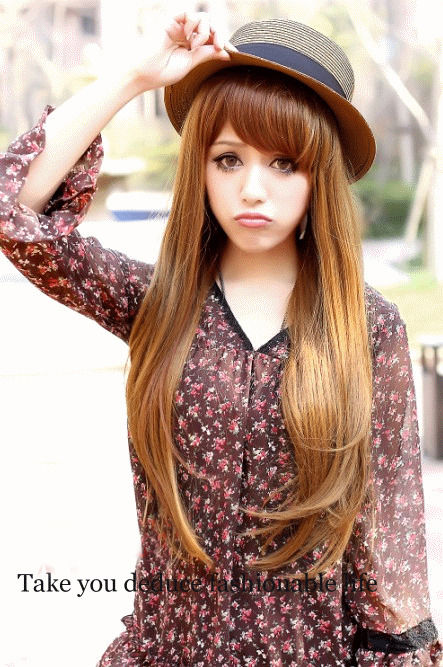 Luscious Long Brown Natral Straight Kanekalon Wig Hairpiece Skin Top Design  shop from Merpher.L