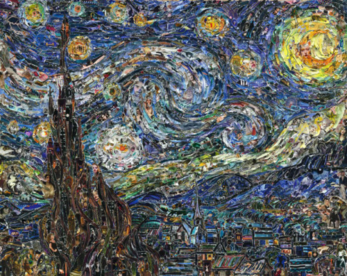 Famous Paintings Recreated Using Torn Magazine Pieces by Vik Muniz