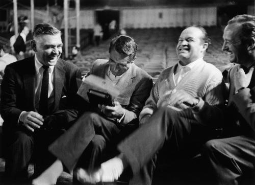 jaxbra:  Clark Gable, Cary Grant, Bob Hope and David Niven. I *love* this photo!! Would love to know what made them laugh so hard. Via Decaying Hollywood Mansions on Facebook