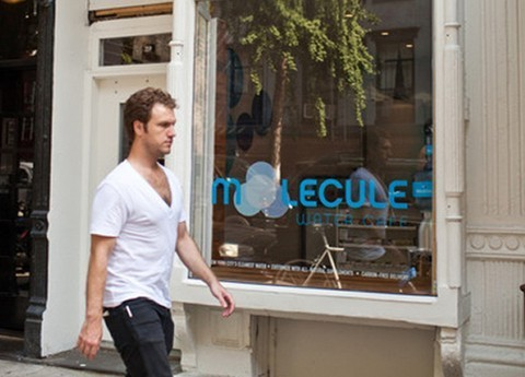 "First café serving only water opens in NYC Its name is Molecule, and it is the first water-only café to open in New York City and possibly the nation. So what's so special about the water at Molecule? Is it distilled from the most pristine mountain stream on the planet? No, actually it comes from a New York City tap, but the restaurant justifies charging $1 and up per serving because their water is filtered through a custom-built $25,000 purifier that ""uses ultraviolet rays, ozone treatments and reverse osmosis in a seven-stage processing treatment.""   An article in the Wall Street Journal (one of few positive reviews) hails Molecule as ""a cocktail bar for water enthusiasts,"" though those who prefer to do their drinking in private can always order 3- and 5-gallon jugs of the store's ""pharmaceutical-grade water"" for home delivery."